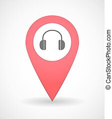 Map mark icon with a ear phones - Illustration of a map mark...