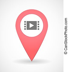 Map mark icon with a multi media sign
