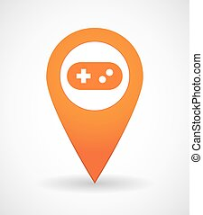 Map mark icon with a game pad - Illustration of a map mark...