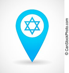 Map mark icon with a David Star - Illustration of a map mark...