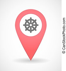 Map mark icon with a budhist sign - Illustration of a map...
