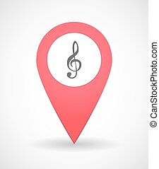 Map mark icon with a g clef - Illustration of a map mark...