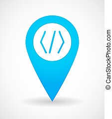 Map mark icon with a code sign - Illustration of a map mark...