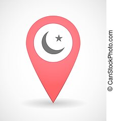 Map mark icon with an islamic sign - Illustration of a map...