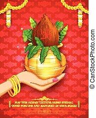 Akshay Tritiya celebration - illustration of hand holding...