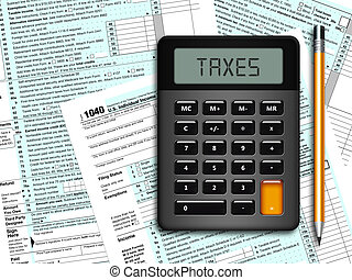 u.s. individual income tax return form 1040 with calculator...