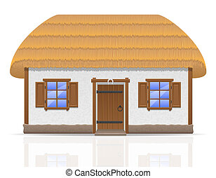 ancient farmhouse with a thatched roof illustration isolated...