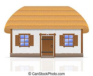 ferme, Ancien,  Illustration, toit, couvert chaume