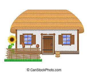 Ancien, ferme, à, a, couvert chaume, toit,...