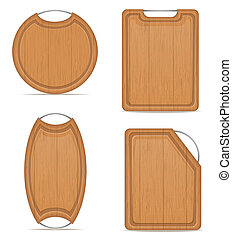 wooden cutting board with metal handle illustration isolated...
