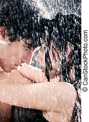 Couple passion portrait Water studio photo