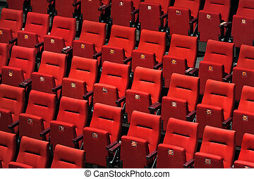 Theater seats - Theatre with empty red seats