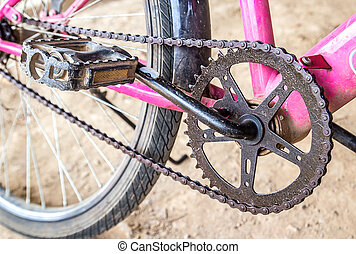 Close up mountain bike crankset with chain - Close up old...