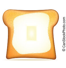 トースト, ∥で∥, バター, イラスト,