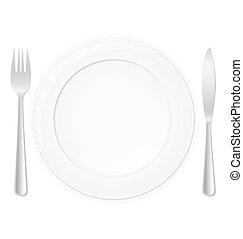 garfo, prato, faca, Ilustração