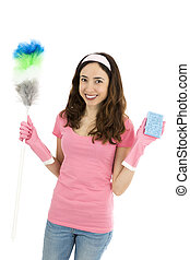 Cleaning woman with cleaning tools