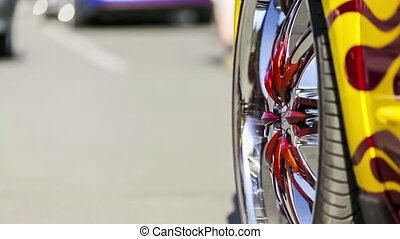 Wheel Disk Of Original Design - Close-up shot of cars bright...