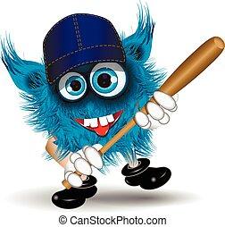 Monster baseball - illustration fairy shaggy blue monster of...