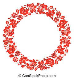 Kalocsai red embroidery in circle - Hungarian floral folk...