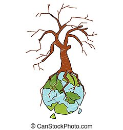 Earth with dry tree showing distruction