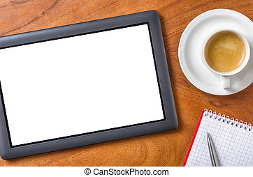 Tablet pc with copy space on a desk