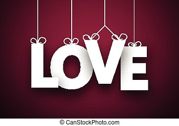 Paper love sign. - White love paper sign. Vector holiday...