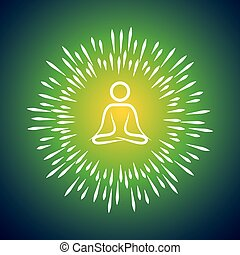 meditation symbol vector icon and sunburst like rays...