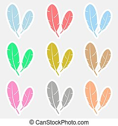 various color feathers symbols stickers set eps10