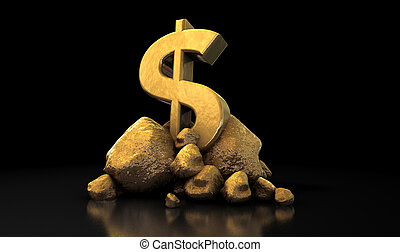 Gold Dollar Sign - A collection of gold nuggets propping up...