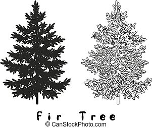 Christmas Tree Silhouette, Contours and Inscriptions -...