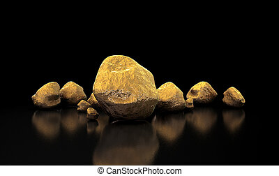 Gold Nugget Collection - A collection of gold nuggets on an...
