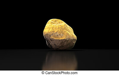 Gold Nugget  - A gold nugget on an isolated dark background