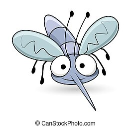Cartoon Funny Mosquito Character Face Expression Vector...