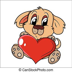 Cute Puppy Holding Heart