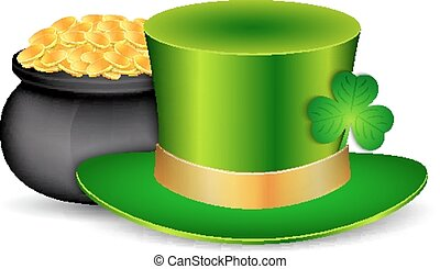 Green hat with pot of gold isolated white. St. Patrick's...