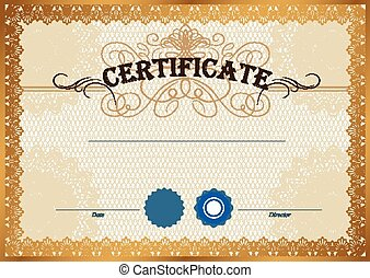 Certificate template - Vector illustration of gold detailed...