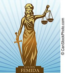 Femida vector illustration. - Femida - lady justice, graphic...
