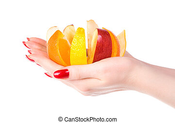 Woman hand with fruit mix Isolated on white