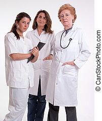 médico, femininas, equipe
