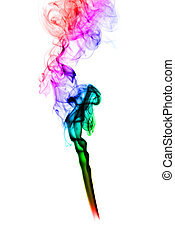 Puff of colored abstract smoke curves