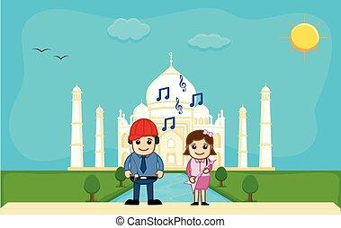 Couple Celebrating Picnic at Taj