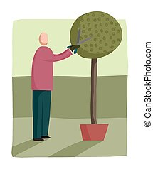 Man pruning a tree - Cartoon image of a man pruning his tree...