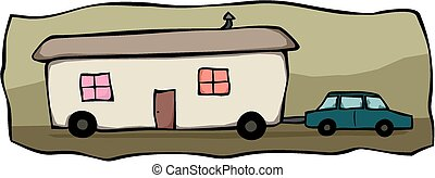 Mobile home towing - Cartoon image of a large mobile home...