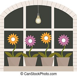 Window box - A large window with some flower pots on the...