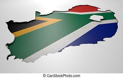 recessed, país, mapa, SUL, África,