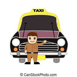 Taxi Driver Inviting Customers
