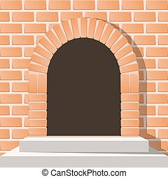 Arched medieval door in a brick wall with stairs