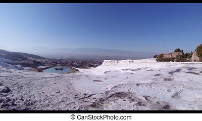 Turkey Pamukkale hot spring on the mountain