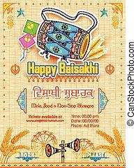 Happy Baisakhi background - illustration of Happy Baisakhi...