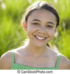 Tween Girl Smiling To Camera - Portrait Of Tween Girl...